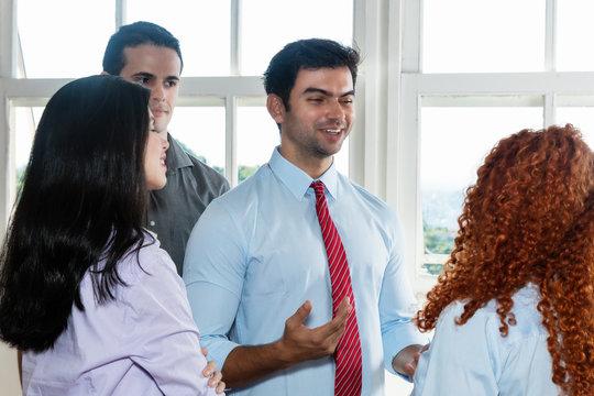 Modern boss motivating employees