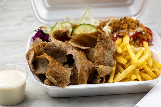 take-away dish - kebab in a thermal package