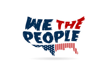 We The People Constitution word in USA map