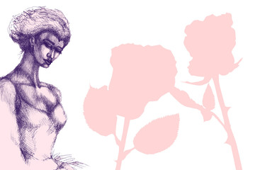 Ballerina. Hand drawn ink illustration. Artist creative painting background