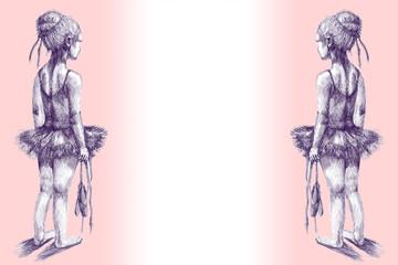 Little girl ballet dancer. Hand drawn ink illustration. Artist creative painting background.