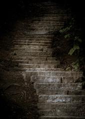 kamienne schody w ciemności prowadzące w górę