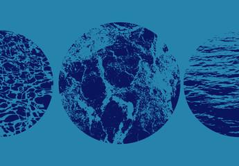 Überlagerungs-Set mit kreisförmigen Wasserstrukturen