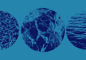 Ensemble d'incrustations avec texture d'eau circulaire