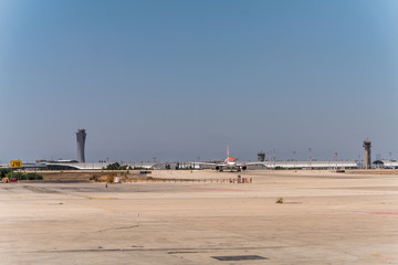 Tel Aviv Ben Gurion International Airport, Israel  - August 2018,  Main Terminal and Tower Building and runways