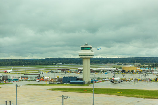 GATWICK, WEST SUSSEX, ENGLAND - August 2018: Control tower at Gatwick Airport