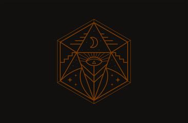 Mystery occult eye symbol