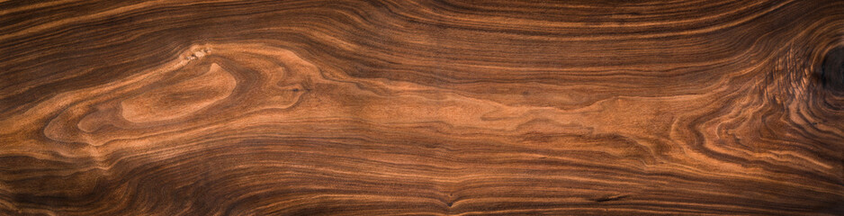 Poster Wood Walnut wood texture. Super long walnut planks texture background.Texture element