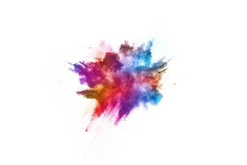 Colorful powder explosion on white background. Colored cloud. Colorful dust explode. Paint Holi.