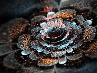 Dark colorful fractal flower, digital artwork for creative graphic design