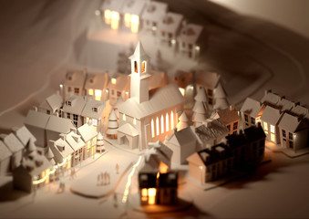 A paper model village at christmas with glowing street lights. 3D Illustration.