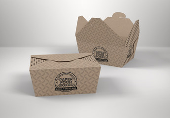 2 Flap Closure Takeout Food Boxes Mockup