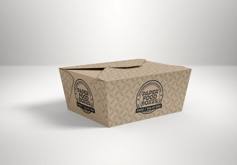 Closed Flap Closure Takeout Food Box Mockup