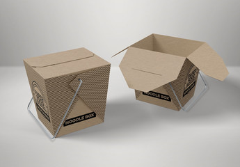 Two Flap Closure Takeout Food Boxes with Handles Mockup