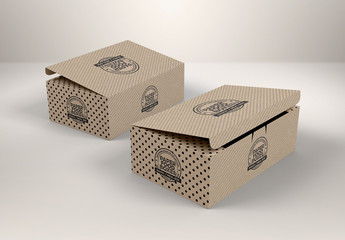 2 Cardboard Boxes with Folding Lids Mockup