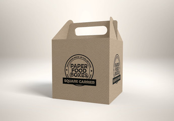Square Cardboard Box with Handle Mockup