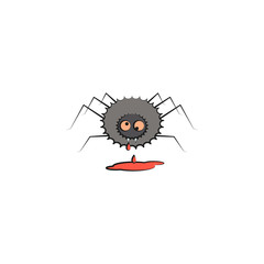 spider and blood colored illustration. Element of Halloween for mobile concept and web apps. Colored spider and blood illustration can be used for web and mobile