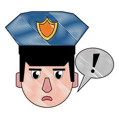 Police face cartoon scribble