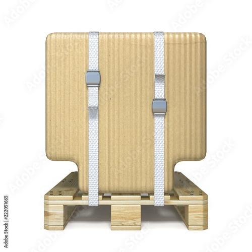 Cardboard box font Letter T on wooden pallet 3D