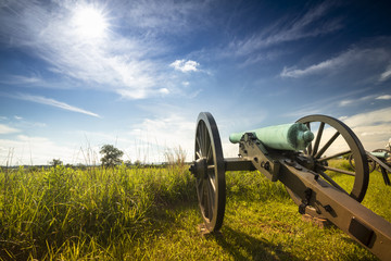 American Civil War battlefield cannon in Gettysburg National Military Park Pennsylvania USA