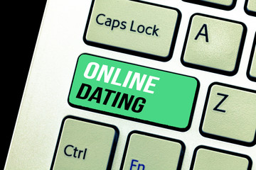 Conceptual hand writing showing Online Dating. Business photo text Searching Matching Relationships eDating Video Chatting.
