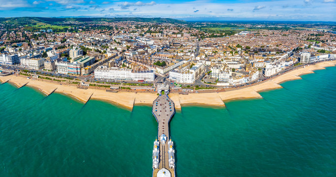 Aerial view of Eastbourne in summer, UK