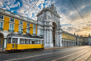 Historic yellow tram in Lisbon, Portugal