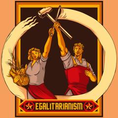 Vintage propaganda style couple vector illustration. Work and Equality. Retro Soviet Propaganda Poster Stylization