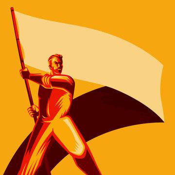 Revolution Poster. Man holding blank flag vector illustration. Political protest activism patriotism. Revolution raising The Flag