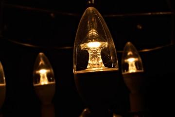 Close up light bulbs dark