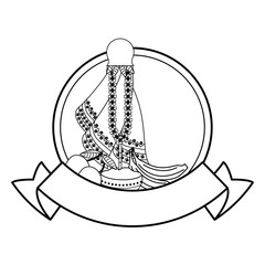 Ugadi indian emblem in black and white