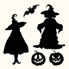 Black silhouette witches, pumpkin lanterns and bat