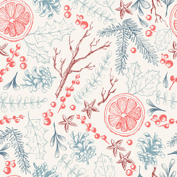 Vector hand drawn seamless pattern with Christmas natural herbal