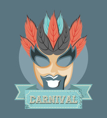 carnival mask with feathers decoration retro style