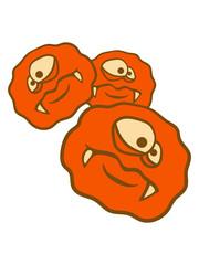 3 viele rund kreis bakterie virus zelle glibber schleim ekelig schleimig gesicht kopf monster lustig böse gefährlich clipart comic cartoon