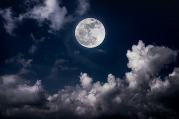Wall Mural - Night sky with bright full moon and cloudy, serenity nature background.