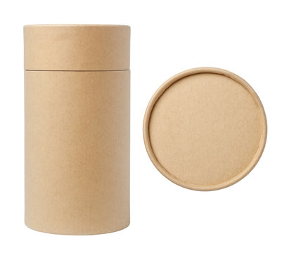 Top view of brown paper tube and brown paper tube isolated on white background.