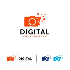 Digital Camera logo designs vector, Pixel Camera logo template