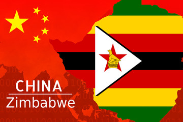 Concept image of Bilateral trade between China - Zimbabwe, economic relations, China invest in  Africa. .