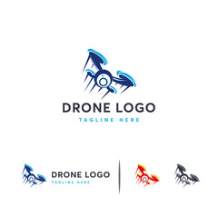 Fast Flying Drone logo designs concept vector, Camera logo template