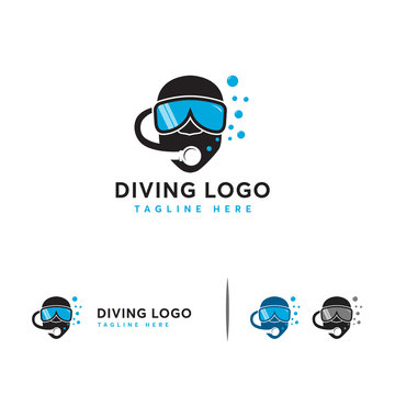 Diving logo designs concept vector, Diving Helm logo symbol