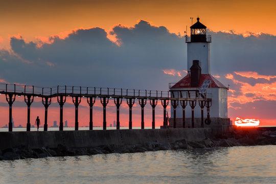 Michigan City Lighthouse Sunset