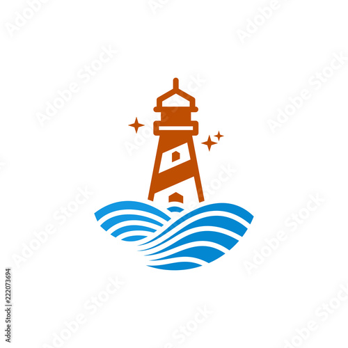 lighthouse icon design with ocean waves logo template vector