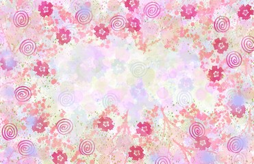 abstract beautiful soft colored floral pattern overall background with frame border