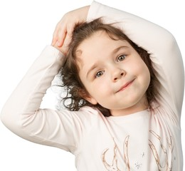 Little Girl Smiling with Arms over Head, Isolated on Transparent