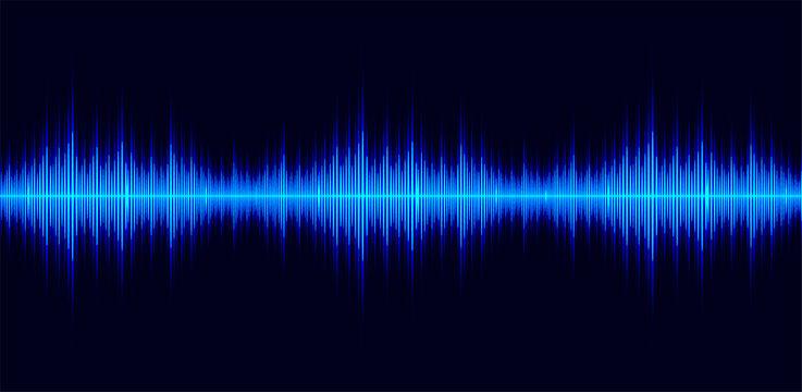 Sound waves oscillating dark blue light, Abstract technology background. Vector illustration