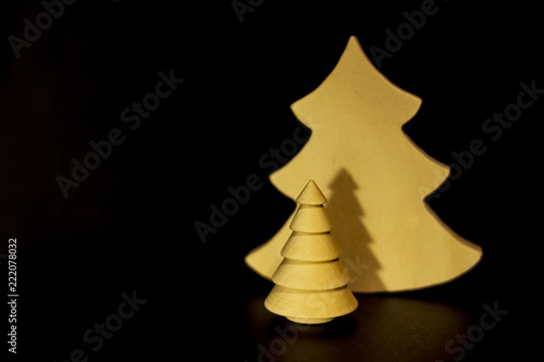 homemade tree for christmas or country decoration decorative wooden tree minimalistic background with fir