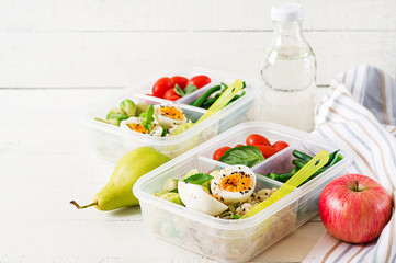 Foto auf Gartenposter Sortiment Vegetarian meal prep containers with eggs, brussel sprouts, green beans and tomato. Dinner in lunch box