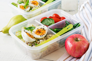 Garden Poster Assortment Vegetarian meal prep containers with eggs, brussel sprouts, green beans and tomato. Dinner in lunch box