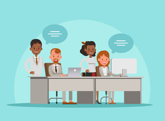 business people working in office vector character design no11